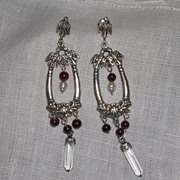 Vintage Sterling Silver Garnet Pearl and Crystal Dangle Earrings