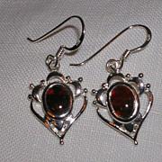 Charming Heart Design  Moss Agate Sterling Earrings