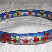 Vintage Cornflower Blue Hinged Cloisonne Bracelet