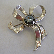 Vintage Danecraft Sterling Silver and Hematite Bow Brooch