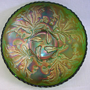 SALE Fenton Carnival Glass Green Thistle Scalloped Bowl
