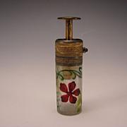 Antique French Daum Nancy Art Nouveau Cut Cameo Glass Perfume Bottle Atomizer
