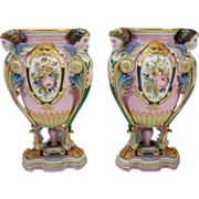 SALE Fabulous Jean Gille French Bisque Porcelain Ornate Victorian Urn Vases Pair