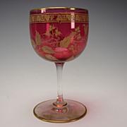 Antique Baccarat St Louis French Cranberry Glass Elegant Gilt Engraved 19c