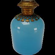 Antique Blue Opaline French Art Glass Palais Royal Perfume Scent Bottle