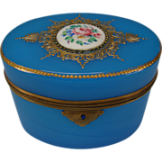 Antique French Blue Opaline Palais Royal Glass Box Casket