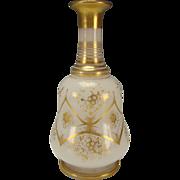 SALE Antique French Baccarat Elegant Gilt Opaline Glass Bottle Decanter c1850