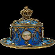 SALE Antique Palais Royal Baccarat Ormolu Covered Blue Opaline Jar Dish Bowl 19c