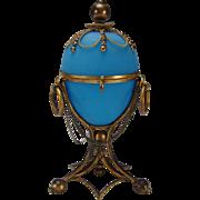 Huge Antique French Palais Royal Blue Opaline Ormolu Glass Egg Box Jar Casket