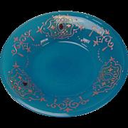 SALE Antique Bohemian Moser Enamel Jeweled Blue Opaline Persian Glass Plate/Bowl
