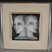 Enameled Copper Modernist Painting Framed Wall Plaque