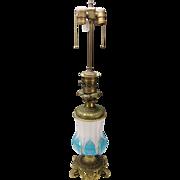 Antique Bohemian Moser Parcel Gilt Blue Opaline & Cut Alabaster Glass on Bronze Ormolu Mounted