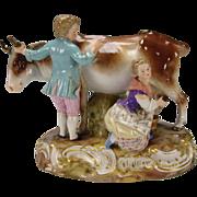 Antique 19c Meissen Porcelain Figurine Figural Grouping Group Large German