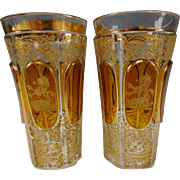 Antique Moser Bohemian Glass Armorial Tumbler Pair