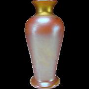 SALE Antique Iridescent Quezal Signed Art Glass Vase Aurene