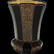 Stellar Antique Bohemian Ruby Glass with Gilt Decorated Beaker Vase