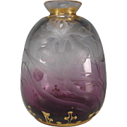 Art Nouveau Bohemian or French Wheel Carved Amethyst Glass Vase with Gilt