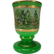 Bohemian Antique Green Opaline Glass Fine Hand Painted Portrait Beaker Vase