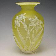 SALE Antique Webb Citrine Engraved Cameo Glass Vase c1880