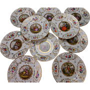 Antique Meissen GREAT SET of 10 Hand Painted Medallion Portrait Plates