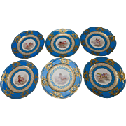 Antique 19c Sevres Style Celeste Blue Hand Painted Angel Cherub Portrait Plate Set
