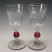 19c English Scottish Cut Glass Cranberry Engraved Chalice Vase Pair