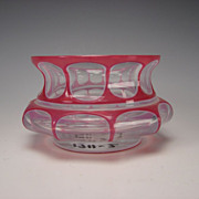 SALE Antique Bohemian HOT Pink Cased Overlay Glass Vase/Bowl