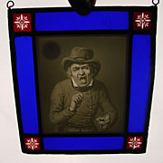 Great KPM Lithophane Plaque in Stained Glass Surround Frame