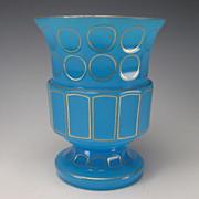SALE Antique Bohemian French Blue Opaline Art Glass Vase