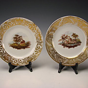 SALE Antique English Derby China Enamel Hand Painted Scenic Porcelain Plates c1810