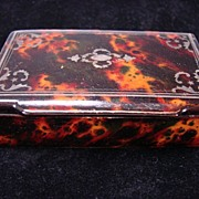 Antique c1850 Faux Tortoiseshell Silver Inlay Lacquer Snuff Box