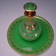 SALE Antique Boston Sandwich Green Opaline Parcel Gilt Glass Tray Decanter Bottle Drink Set 19