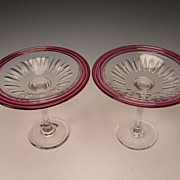 Antique Pairpoint Elegant Cranberry Cased Cut Glass Compote Tazza Set