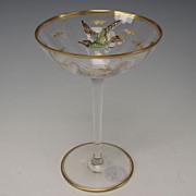 SALE Antique Bohemian MOSER Raised Enamel Bird Eagle Falcon Wine Glass Stem Tazza Compote