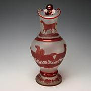 19c Fine Bohemian Ruby Decorated Glass Pitcher/Jug w/Hand Painted Arabian Horses