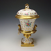 SALE Antique Old Paris Porcelain Vase  French Hand Painted Gilt Lidded Urn c1830 Item# 2012-4