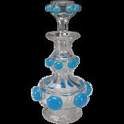 BEST Antique Baccarat 19c Blue Opaline on Crystal Glass Perfume Decanter Bottle