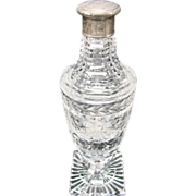 SALE Great Cut Glass Brilliant Figural Sterling Lid Perfume Scent Bottle