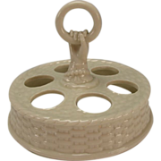 SALE Antique Irish Belleek Porcelain Egg Cup Cordial Caddy Holder 1st Black Mark China