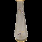 """Art Nouveau Legras Violets Enamel Glass Vase c1900 Mont Joye 13 1/2"""" St. Denis"""