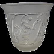 Antique Art Deco French Edvin Ollers Swedish Pressed Glass Vase c1910 Elme Glasbruk