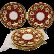 SALE Antique Copeland Gilt and Red c1900 Porcelain Dinner Plate Set