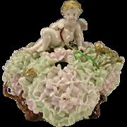 SALE Antique German Dresden Porcelain Angel Cupid Hydrangea Figural Triple Vase Bowl