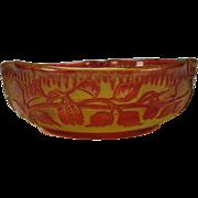 Antique French Art Nouveau Cranberry Cased Cut Cameo Glass Bowl