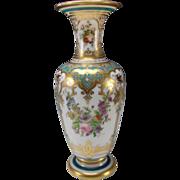 Stellar Baccarat Jean Francois Robert Hand Painted Opaline Glass Vase c1855