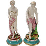 Antique English Porcelain Nude Lady Figurines Statues c1850