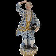 Antique Meissen Man Blue White with Elegant Gold Lace Jacket Coat Figurine