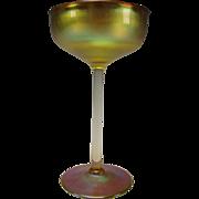 Antique Signed LCT Tiffany Aurene Iridescent Glass Wine Stem Art Nouveau