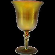 Antique Steuben Aurene Iridescent Rope Twist Stem Wine Glass