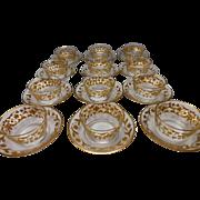 Antique Moser Harrach Parcel Gilt Bowl Liner Plate Set of 12